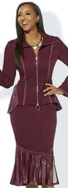 Donna Vinci 11942-Burgundy - Stud Accent Stretch Fabric Suit With Pleated Leatherette Flounce Skirt And Peplum Jacket