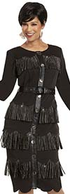 Donna Vinci 11943 - Belted Peach Skin Dress With Leatherette Placket And Rhinestone Fringe Trim