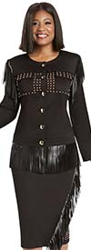 Donna Vinci 11944-Black - Stretch Fabric Womens Skirt Suit With Leatherette Fringe Trim And Gold Studs
