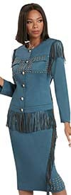 Donna Vinci 11944-Blue Steel - Stretch Fabric Womens Skirt Suit With Leatherette Fringe Trim And Gold Studs
