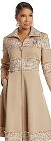 Donna Vinci 11946 - Womens Luxury Stretch Fabric Dress With Tweed Style Accents