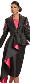 Donna Vinci 11949 - Rhinestone Embellished Silk Look Womens Skirt Suit With Extended Peplum Jacket