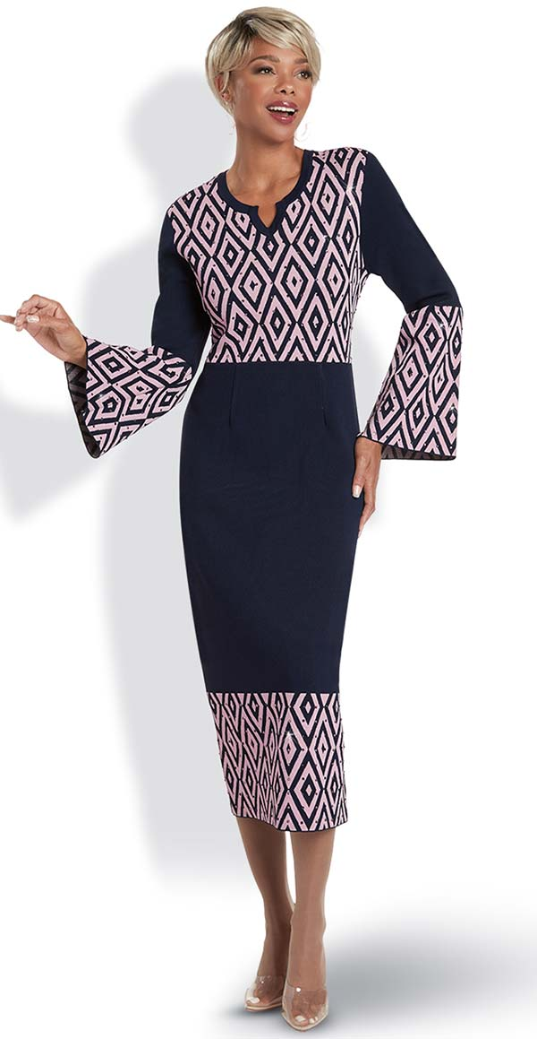 Donna Vinci 13311 Ladies Knitted Yarn Bell Sleeve Dress With Embellished Diamond Pattern Design
