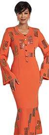 Donna Vinci 13312 Womens Knitted Yarn Bell Sleeve Dress With Embellished Rectangular Pattern Design