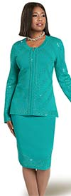 Donna Vinci 13313 Rhinestone Embellished Womens Skirt Suit In Exclusive Knitted Yarn Fabric