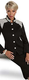 Donna Vinci 13317 Womens Church Suit In Knitted Wool Blend Yarn With Pearl Embellished Jacket