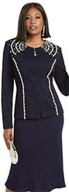 Donna Vinci 13318 Knitted Wool Blend Yarn Flared Skirt Church Suit With Pearls & Rhinestones