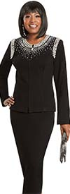 Donna Vinci 13319 Womens Pearl & Rhinestone Embellished Skirt Suit In Knitted Wool Blend Yarn