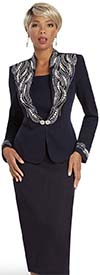 Donna Vinci 13320 Womens Rhinestone & Pearl Embellished Skirt Suit In Knitted Wool Blend Yarn