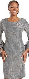 Donna Vinci 5731 - Womens Novelty Fabric Sheath Dress With Silk Look Layered Flounce Cuff Sleeves