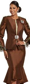 Donna Vinci 5733 - Womens Church Suit With Flounce Skirt Featuring Ruffled Trims And Animal Print