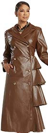 Donna Vinci 5734 Womens Tier Design Faux Leather Dress / Coat Trimmed With Gold Buttons And Studs