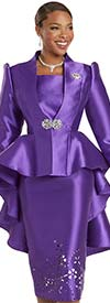 Donna Vinci 5737 - Womens Church Suit With Extended Peplum Jacket And Laser Cut Details