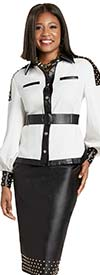 Donna Vinci 5740 Womens Bishop Sleeve Jacket And Leatherette Skirt Set With Gold Studs