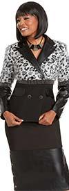 Donna Vinci 5743 Leatherette Trimmed Skirt And Animal Print Peak Lapel Jacket With Metal Fringes