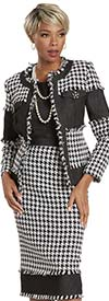 Donna Vinci 5744 Womens Three Piece Skirt Suit With Houndstooth Pattern And Denim Inset