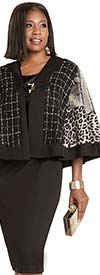 Donna Vinci 5745 Stretch Peach Skin And Faux Leather Dress With Cape Sleeve Animal Print Jacket