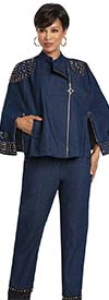 Donna Vinci 5746 Womens Stretch Denim Pant Suit With Leatherette Trim And Gold Studs