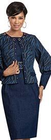 Donna Vinci 5747 Stretch Denim Belted Dress & Bishop Sleeve Jacket Set With Gold Grommets