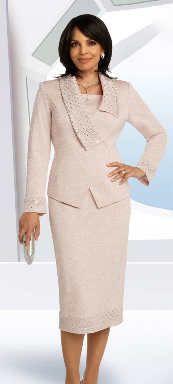 Donna Vinci Knits 13280 Skirt And Asymmetric Collar Jacket In Knitted Wool Blend Lurex Yarn With Rhinestone Trims