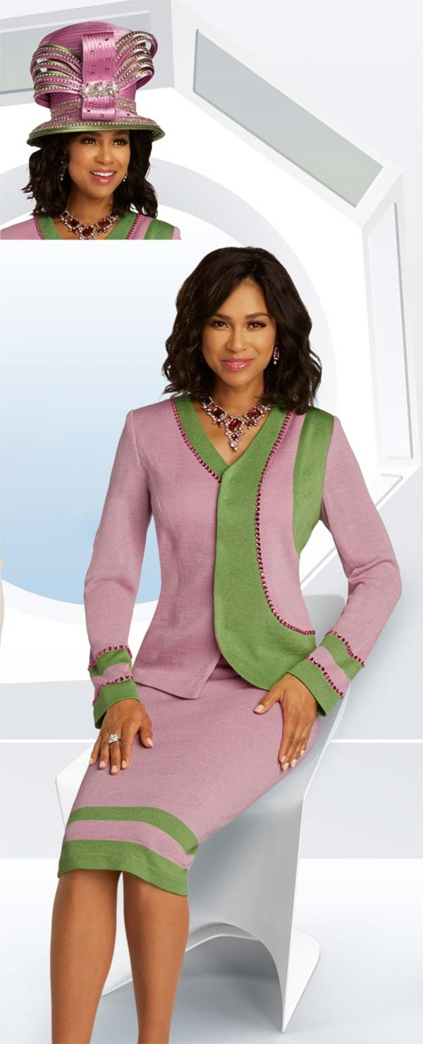 Donna Vinci Knits 13284 Two Tone Skirt Suit In Knitted Wool Blend Yarn With Pink Rhinestone Details
