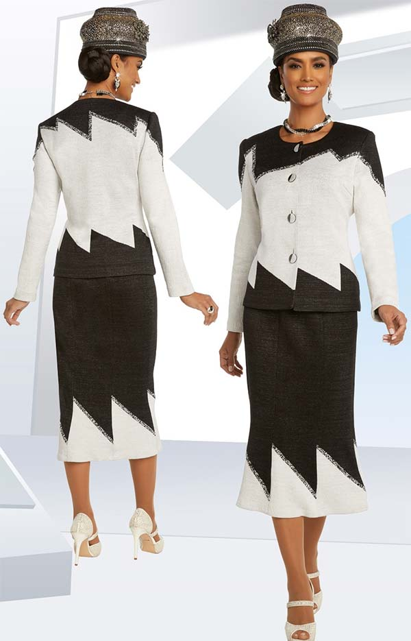 Donna Vinci Knits 13286 Two Tone Zig-Zag Design Knitted Wool Blend Yarn Skirt Suit Trimmed With Rhinestone Trims