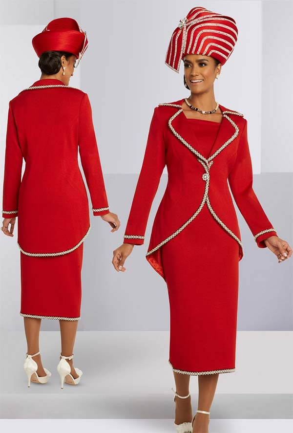Donna Vinci Knits 13288 Womens Church Suit With Hi-Lo Jacket In Knitted Wool Blend Yarn With Pearl And Bead Trims