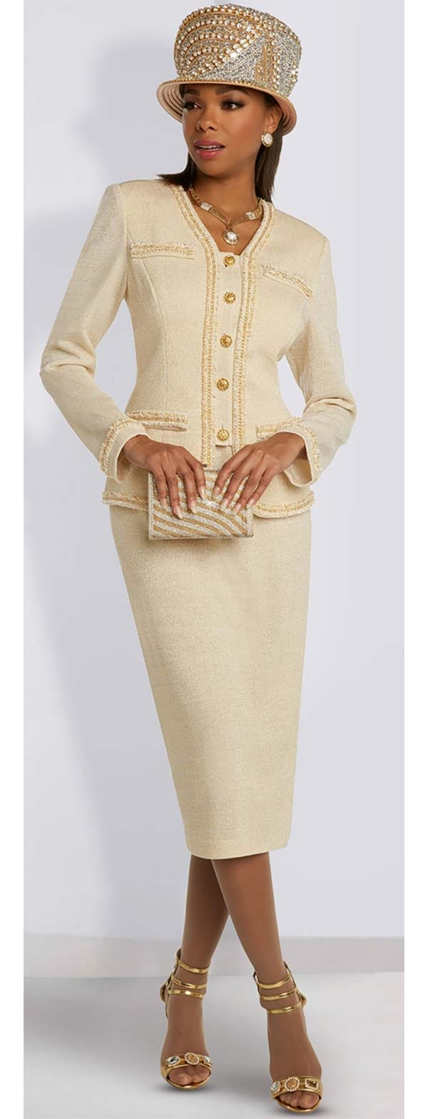 Donna Vinci Knits 13292 Womens Knitted Wool Blend Lurex Yarn Skirt Suit Trimmed With Novelty Gold Thread Lace And Chains