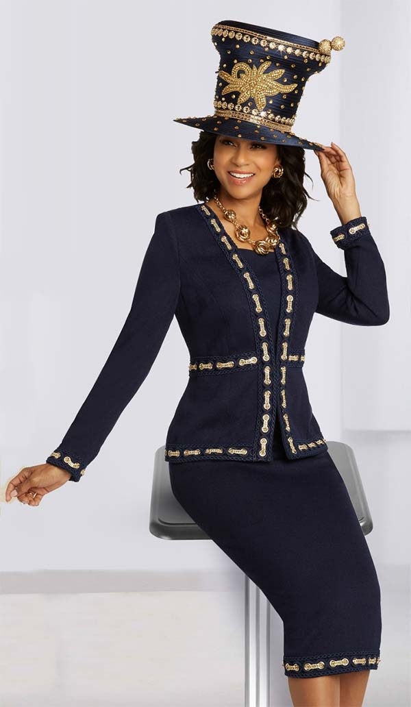 Donna Vinci Knits 13293 Womens Church Suit In Knitted Wool Blend Yarn With Guipure Lace And Rhinestone Chain Trims