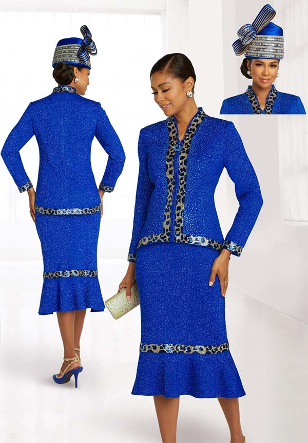 Donna Vinci Knits 13295 Womens Flared Skirt Suit In Knitted Wool Blend Lurex Yarn With Camo Sequins And Royal Rhinestone Trims