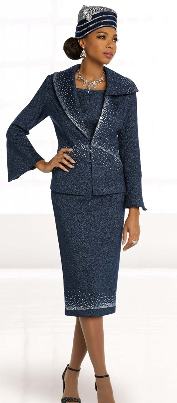 Donna Vinci Knits 13297 Knitted Wool Blend Lurex Yarn Bell Sleeve Skirt Suit With Rhinestone Pattern Design