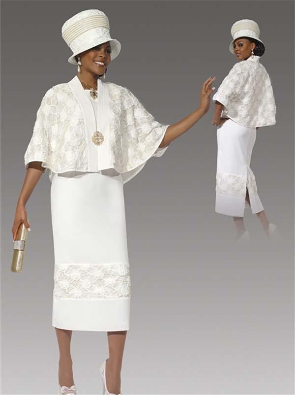 Donna Vinci 5435 Ladies Two Piece Lace Detailed Dress / Capelet Style Jacket Set