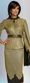 Donna Vinci 5646 Womens Metallic Fabric Cape Sleeve Jacket & Skirt Set With Black Guipure Lace Trims