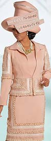 Donna Vinci 11715 Peach Skin Dress & Jacket Set With Embroidered Pearl Lace Design