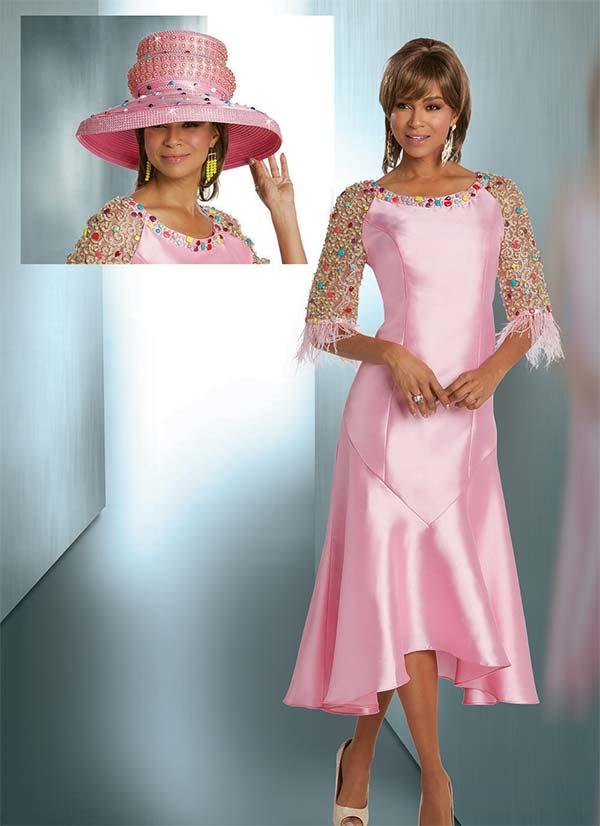 Donna Vinci 11734 Jewel Embellished Flared Dress With Fringe Cuffs