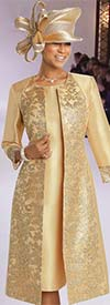 Donna Vinci 11735 Silk Look Church Dress With Embroidered Gold Novelty Lace Design Jacket
