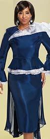 Donna Vinci 11741 Peplum Skirt Suit With Ruffled Orgaza Trims