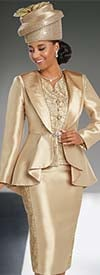 Donna Vinci 11744 Silk Look Peplum Jacket & Skirt Set With Gold Trimmings