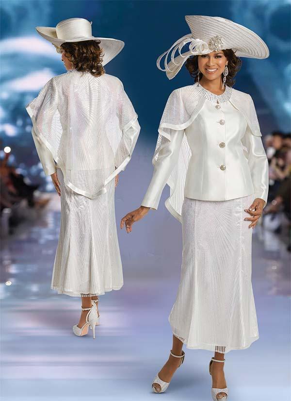 Donna Vinci 11745 Capelet Jacket & Silk Look Flared Skirt Suit With Iridescent Glitter Mesh Design