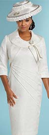 Donna Vinci 11748 Side Ruched Look Dress With Roll Collar Bolero Jacket