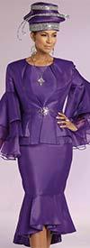 Donna Vinci 11750 Flounce Hem Skirt Set With Layered Organza Sleeves