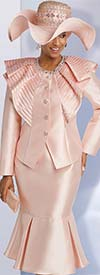 Donna Vinci 11752 Silk Look Pleated Flounce Hem Skirt Suit With Satin Trim Ruffled Jacket