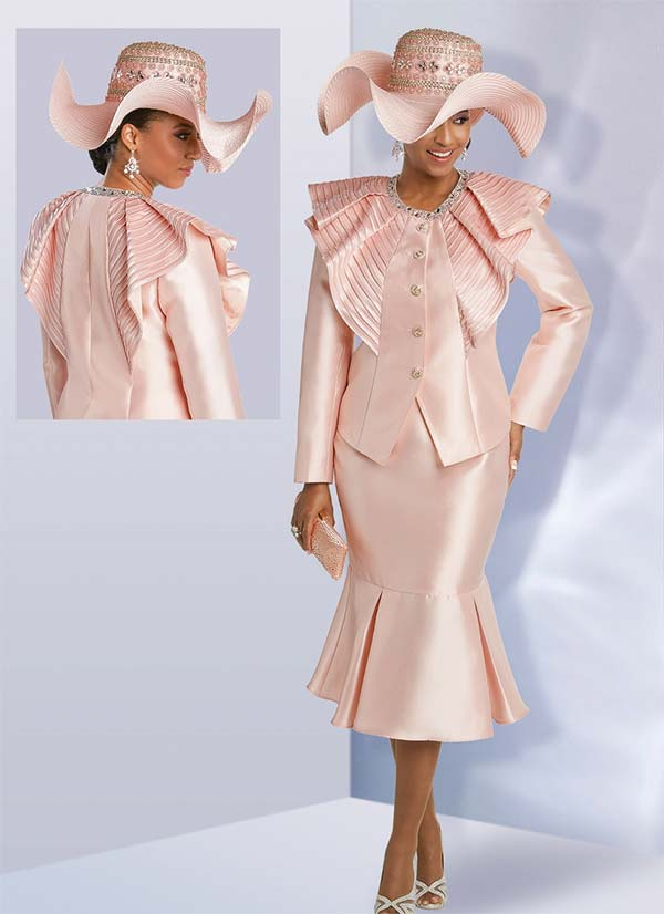 Donna Vinci 11752 Silk Look Pleated Flounce Hem Skirt Suit With Satin Trim Ruffled Jacket