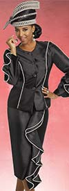 Donna Vinci 11755 Silk Look Skirt Suit With Ruffled Pearl Trim Design