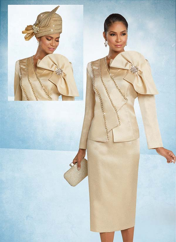 Donna Vinci 11759 Two Piece Skirt Set With Bow On Asymmetric Design Jacket