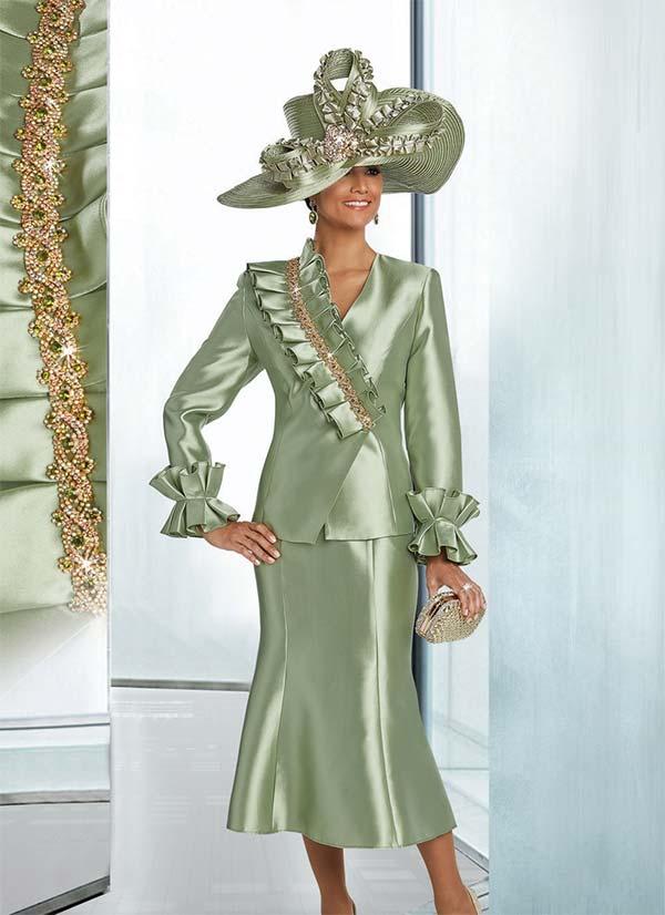 Donna Vinci 11761 Flared Skirt Suit With Over Shoulder Embellished Ruffle Trim