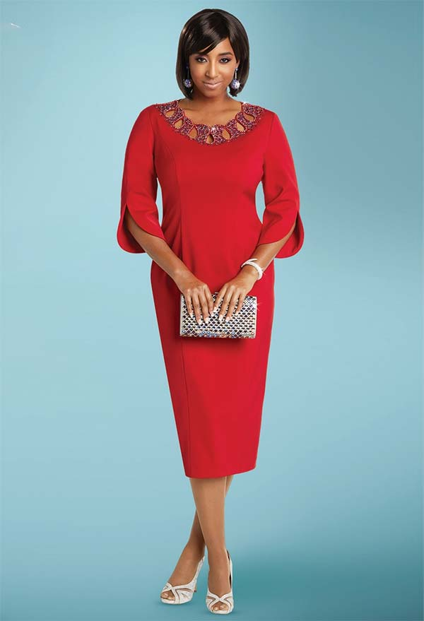 Donna Vinci 11763 Peach Skin Dress With Colored Rhinestone Neckline