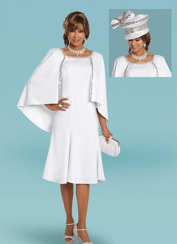 Donna Vinci 11764 Peach Skin Cape Design Dress With Rhinestone Trims