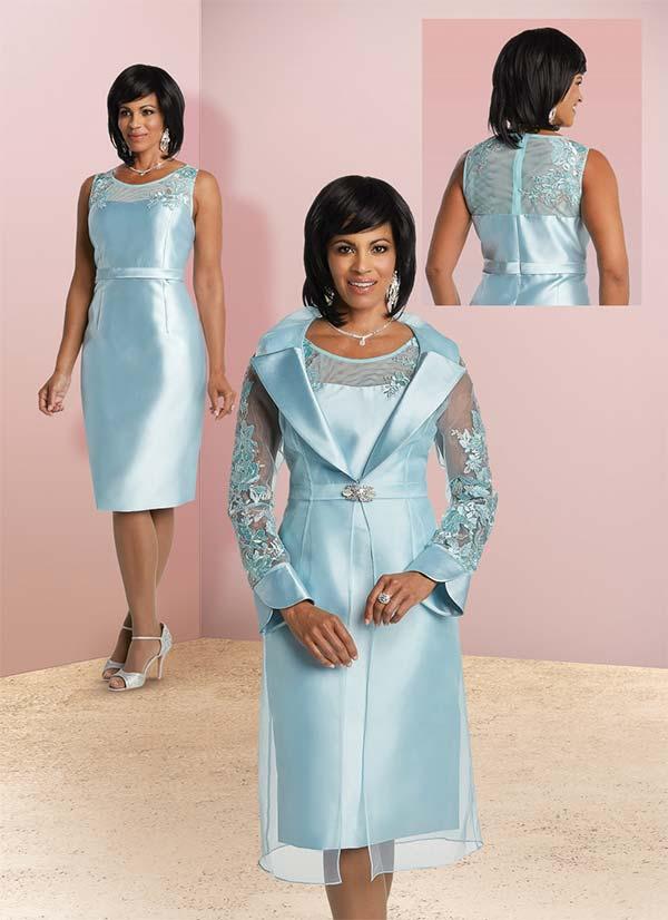Donna Vinci 11765 Two Piece Dress Set With Lace & Mesh Design Jacket