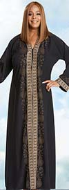 Donna Vinci 11768 Womens Church Robe In Crepe de Chine Fabric With Embroidered Rhinestone Trim